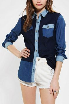 Glamorous Colorblock Chambray Button-Down Shirt  #UrbanOutfitters