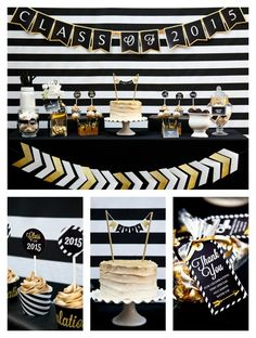 Black and Gold Glitter Graduation Party - Pretty My Party #grad #graduation #party #ideas #eventplanning