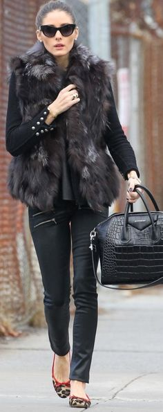 Who made  Olivia Palermo's black leather pants, black handbag, and leopard ballet flat shoes that she wore in New York?