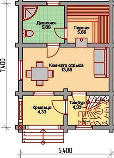 планировка бани 7x5