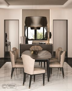 Cipriani Homood x Denino Furniture leather dining chairs dark oak dining table marble floor and feature wall light. Marble floor, recessed ceiling feature and dark oak wooden planks floor. Brass detailed chairs. Wallpaper panel.