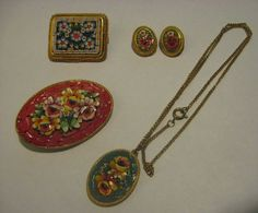 VINTAGE LOT OF 4 MICRO MOSAIC JEWELRY PINS, PENDANT NECKLACE, CLIP EARRINGS #5