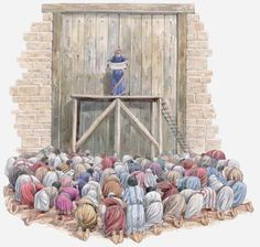 Survey Israel's History in the Historical Books of the Bible: Ezra reading from Book of the Law outside rebuilt walls of Jerusalem.