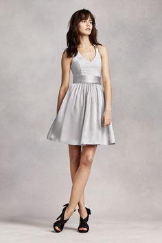 8162441b7eba White by Vera Wang Short Halter Bridesmaid Dress Style VW360261, Blush, 26