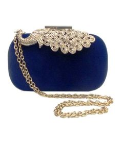 Bhamini Blue Velvet Box Clutch With Peacock Brooch Clutches For Women, Designer Clutch, Blue Velvet, Clutch Bag, Saddle Bags, Purses And Bags, Pattern Design, Brooch, Pendant Necklace