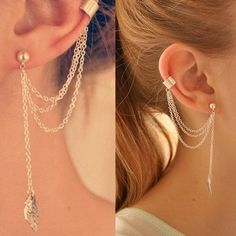 Size: The shortest chain The Longest chain Material: Alloy. Cartilage Earrings, Dangle Earrings, Stud Earring, Collateral Beauty, Punk Rock Fashion, Gull, Ear Studs, Rock Style, Silver Hoop Earrings