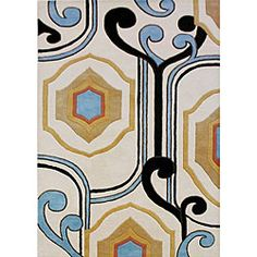 @Overstock - This fine hand-tufted and hand-carved rug is made using a rich wool blend. Custom-dyed yarns in shades of ivory, black, sky blue, tan, rust and gold color the rug.http://www.overstock.com/Home-Garden/Hand-tufted-Contempo-Diamonds-Cream-Wool-Rug-8x10/4813344/product.html?CID=214117 $352.99