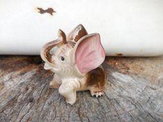 Adorable ceramic vintage brown baby elephant with pink ears. Hallmarked Japan on the bottom. Elephant Stuff, Baby Elephant, Brown Babies, Elephant Figurines, Make Arrangements, Elephants, Etsy Shop, Japan, Antique