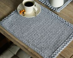 Placemats, Set of 4 Knitted Cotton placemats, Table mats Ecru Modern placemats : * Color included in this offer Light Gray * Beautiful set of 2 placemats handmade, knitted with cotton cord. Size: 30 x 40 cm Thank you for visiting my shop Grey Placemats, Modern Placemats, Crochet Placemats, Placemat Patterns, Hand Knitting, Knitting Patterns, Crochet Patterns, Handmade Table, Rope Basket