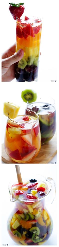 Maybe I'll do this with sprite. Rainbow Sangria -- Taste the rainbow with this easy white wine sangria recipe! It's super fun, and super delish! Summer Drinks, Fun Drinks, Party Drinks, Beverages, Sangria Recipes, Cocktail Recipes, Yummy Food, Tasty, In Vino Veritas