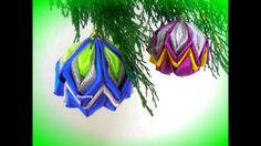 how to make christmas ornaments, DIY tutorial, Christmas balls on the Christmas tree Christmas Ornaments To Make, Christmas Ribbon, Christmas Balls, Handmade Christmas, Christmas Crafts, Christmas Decorations, Christmas Tree, Ribbon Art, Ribbon Crafts