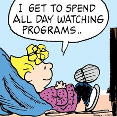 """Home sick from work watching some """"trash"""" tv. Snoopy Love, Charlie Brown And Snoopy, Snoopy And Woodstock, Peanuts Cartoon, Peanuts Snoopy, Cartoon Fun, Peanuts Comics, Charlie Brown Characters, Peanuts Characters"""