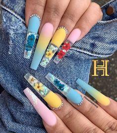 Aycrlic Nails, Bling Nails, Swag Nails, Coffin Nails, Summer Acrylic Nails, Best Acrylic Nails, Cute Acrylic Nail Designs, Beautiful Nail Designs, Glamour Nails