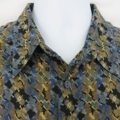 Jhane Barnes L Geometric Abstract Multi Color L/S Woven Cotton Club Shirt  EUC! #JhaneBarnes #ButtonFront