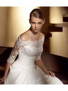 A-Line Off the Shoulder Sleeves Chapel Train  Wedding Dresses 99901069