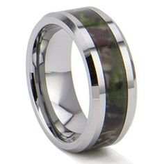 King Will 8mm Unisex Camo Hunting Camouflage Tungsten Carbide Ring Wedding Band Polished Fninsh
