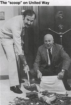 Pictured from a Nevada Bell employee newsletter in 1982 are Jerry Newcomer, Nevada Bell's United Way Company Coordinator, and Chuck Clipper, United Way Executive Director, as they flash smiles as big as silver dollars. The coins represent a portion of the 135,152 dollars Nevada Bell employees generously donated to United Way during their campaign drive.