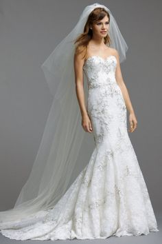 Watters Brides Olina Gown. SimplyLuxeBridalBoutique #SimplyLuxeBridal Full lace fit and flare, trumpet silhouette wedding dress. Sweetheart neckline, stunning beadwork.