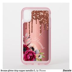 Bronze glitter drip copper metallic flowers name speck iPhone XR case Orange Phone, Speck Cases, Foot Drop, Glitter Phone Cases, Iphone Cases, Tablet Cases, Flower Names, Pretty Tough, Drip Painting