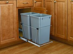 Rev-A-Shelf RV-15KD-C S RV Series Double 27 Quart Waste Containers with Full Ext