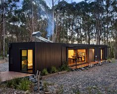 A Perfectly Proportioned Prefab Cabin Secluded in a Forest Clearing Secluded, prefabricated bliss. Musk Prefab Cabin by Modscape (via Lunchbox Architect) The Green Life Small Modular Homes, Modern Prefab Homes, Modern Cabins, Container Home Designs, Cabin Design, House Design, Prefab Cabins, Prefabricated Houses, Cabin In The Woods