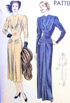 1940s Gorgeous Evening Gown or Dinner Dress Pattern Vogue 6150 Draped Unique Bodice Neckline, Front Godet, Totally Glamorous Film Noir Forties Bust 34 $175