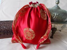 Chinese drawstring bag red with crimson by EcoTurtleUpcycling