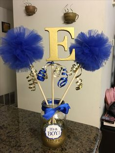 Royal blue and gold baby shower centerpiece