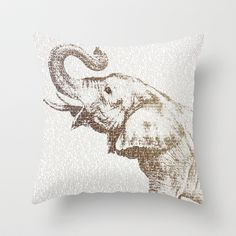 The Wisest Elephant Throw Pillow by Paula Belle Flores - $20.00