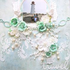 Travel- Scrap Around the World January Challenge 13 Arts Papers 13 Arts Gesso 13 Arts Modeling paste Prima flowers Blue fern studios chipboard page chain 13 Arts white stems snowball stems: creative bags Prima metal bird cages Prima canvas resist images pearls: unknown Viva decor glass effect gel Doily Shimmerz 4 Leaf clover spray  Alpha and circle Pink Paislee Golden Gesso silks glaze turquoise Pearl fx white Accents mask