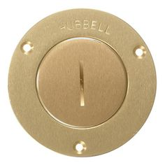 Hubbell Wiring Device - Kellems - Brass Round Floor Box 2-3/8 in. Single Receptacle Cover with Screw Lid - S3525