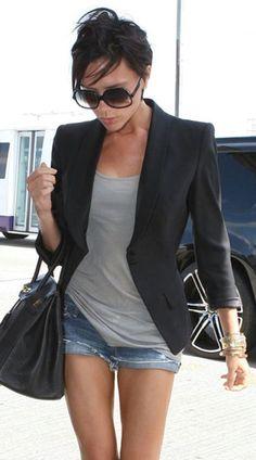 I love Victoria Beckham's style of pairing blazers with denim cutoffs!