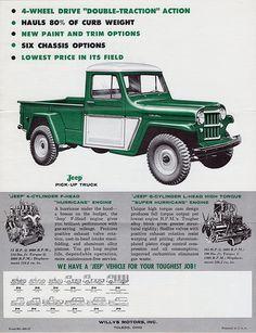 Vintage Trucks Muscle 1960 Willys Jeep Drive Pick-Up Truck Old Jeep, Jeep Cj, Jeep Wrangler, Vintage Jeep, Vintage Trucks, Vintage Ads, Vintage Classics, Jeep Pickup, Jeep Truck