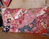 coussin coton japonais Tons rouge et noir : Textiles et tapis par kleine-mikala