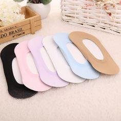 5Pair Available Invisible Socks For Girls Women Ladies Socks Slipper Socks Non-Slip Home Slippers Casual Chaussette Many Colors