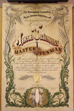 Jake Weidmann's gorgeous Master Penman certificate