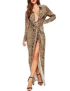 1409ce565e HaoDuoYi Womens Leopard Print V Neck Split Long Sleeves M... https