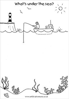 undersea-doodle-sheet Learning Activities, Preschool Activities, Kids Learning, Art Therapy Activities, Art For Kids, Crafts For Kids, Free Doodles, Art Worksheets, Art Classroom