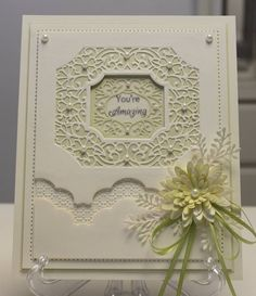 Card by Beverly Fuchs ~Card created using the Auckland and the Noble Border from the New Zealand Collection, and the Delicate Fronds and Delicate Dasies. Also used some distress inks and Diamond Sprinkles.