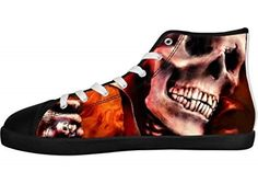 Men's Canvas Shoes Horrific Skull Rock Band Metallica Print High Top Sneakers  #skull #fashion #shoes