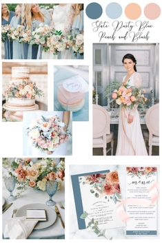 Gorgeous new color palette to explore. Slate, dusty blue, peach and blush hues creating a dreamy elegant atmosphere. Inspired by soft elegant mint gray foliage, slate and cloudy dusty blue bridesmaid dresses and soft blush and peach floral. Peach Wedding Theme, Blue And Blush Wedding, Blush Wedding Colors, Wedding Color Pallet, Dusty Blue Weddings, Wedding Color Schemes, Blush Wedding Palette, Slate Wedding, Spring Wedding Colors Blue