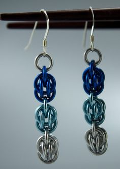 Ombre OBlue Chainmaille Earrings Cool Colors Sweet by Janabolic, $18.00