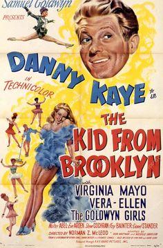 Danny Kaye Virginia Mayo film The Kid from Brooklyn 1940s Movies, Old Movies, Vintage Movies, Old Movie Posters, Cinema Posters, Film Posters, Vintage Posters, Virginia Mayo, Movies