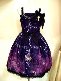 I really like goth and Lolita styles and this is a cute galaxy style print. Kawaii Fashion, Lolita Fashion, Gothic Fashion, Cute Fashion, Steampunk Fashion, Emo Fashion, Fashion Boots, Gothic Outfits, Gothic Dress