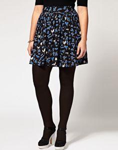 Blue Bird Print Skirt