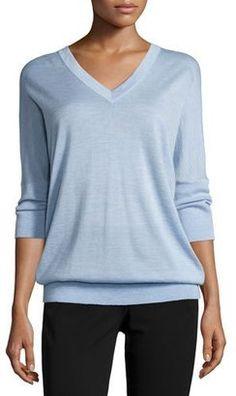 Shop Now - >  https://api.shopstyle.com/action/apiVisitRetailer?id=490674557&pid=uid6996-25233114-59 Derek Lam 3/4-Sleeve V-Neck Sweater, Chambray  ...