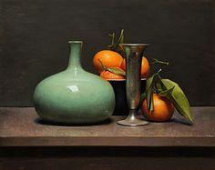 jos van riswick | Stilleven met mandarijnen en groene vaas, 46x37cm, 2013.VERKOCHT