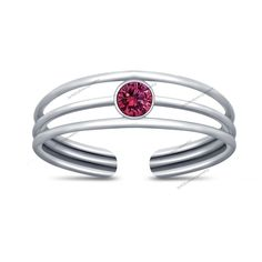 New Married Women's Adjustable Toe Ring Pure 925 Silver Round Pink Sapphire  #br925 #ToeRing