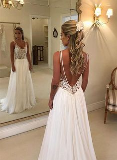 Romantic wedding dress,Chiffon Wedding Dress,Backless Wedding dress,A-Line Wedding dress from Babystyle - Prom Dresses Design Wedding Dress Chiffon, Elegant Wedding Gowns, Backless Wedding, Lace Evening Dresses, Wedding Dresses Plus Size, Elegant Dresses, Lace Dress, V Neck Prom Dresses, Dress Prom