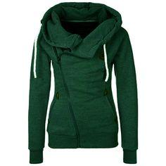 Hooded Zipper Drawstring Green Sweatshirt ($15) ❤ liked on Polyvore featuring tops, hoodies, sweatshirts, shirts, green, long sleeve shirts, zip up shirt, zip up hoodies, hooded sweatshirt and hooded sweat shirt